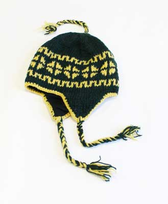 Woollen Knitted Mountain Winter Hats with Fleece Lining Green and Yellow