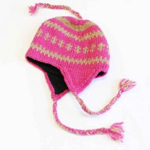 Woollen Knitted Mountain Winter Hats with Fleece Lining Pink