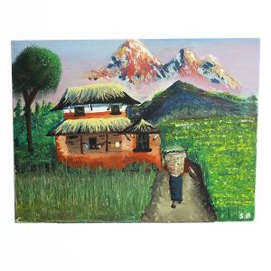 Nepali Traditional Village House Painting with Landscape